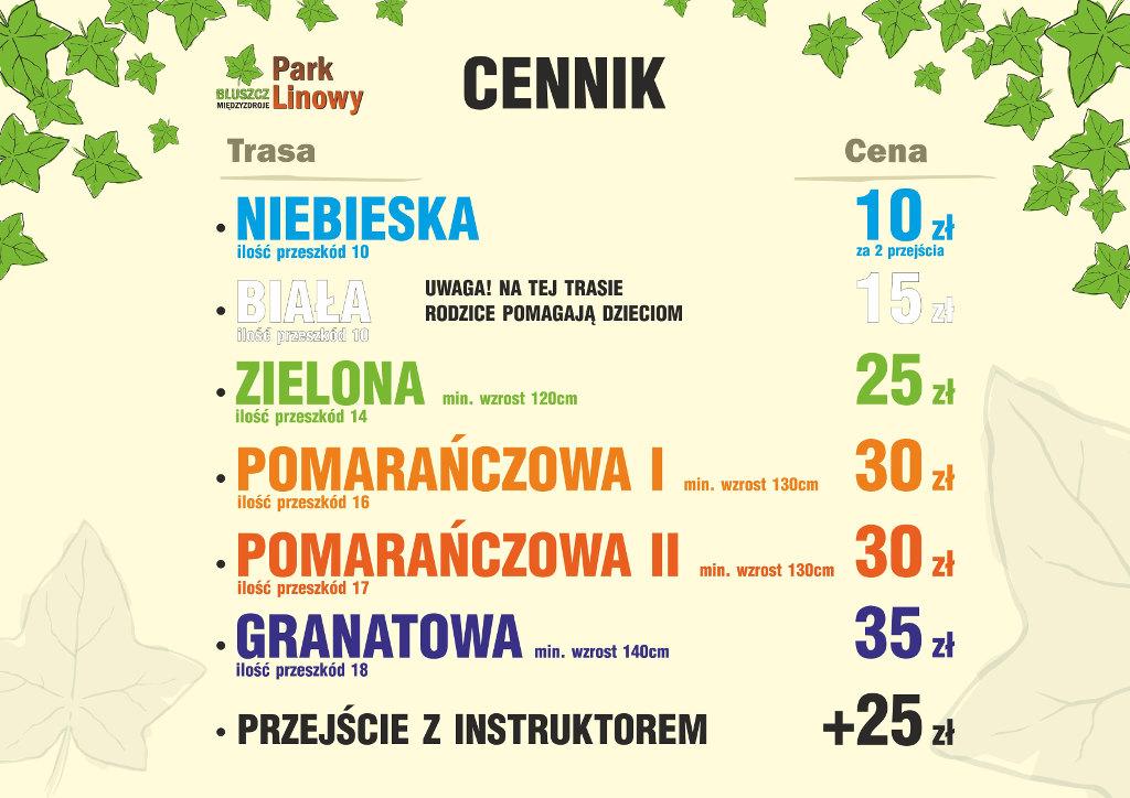 Cennik Park Linowy Bluszcz Międzyzdroje