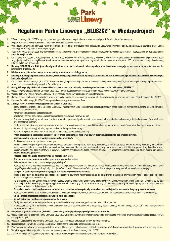 Regulamin Międzyzdroje Park Linowy Bluszcz