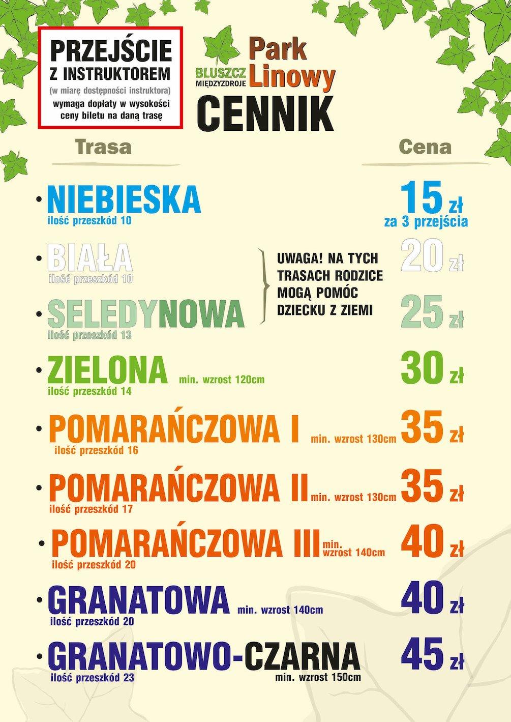 Cennik 2020 Park Linowy Bluszcz Międzyzdroje